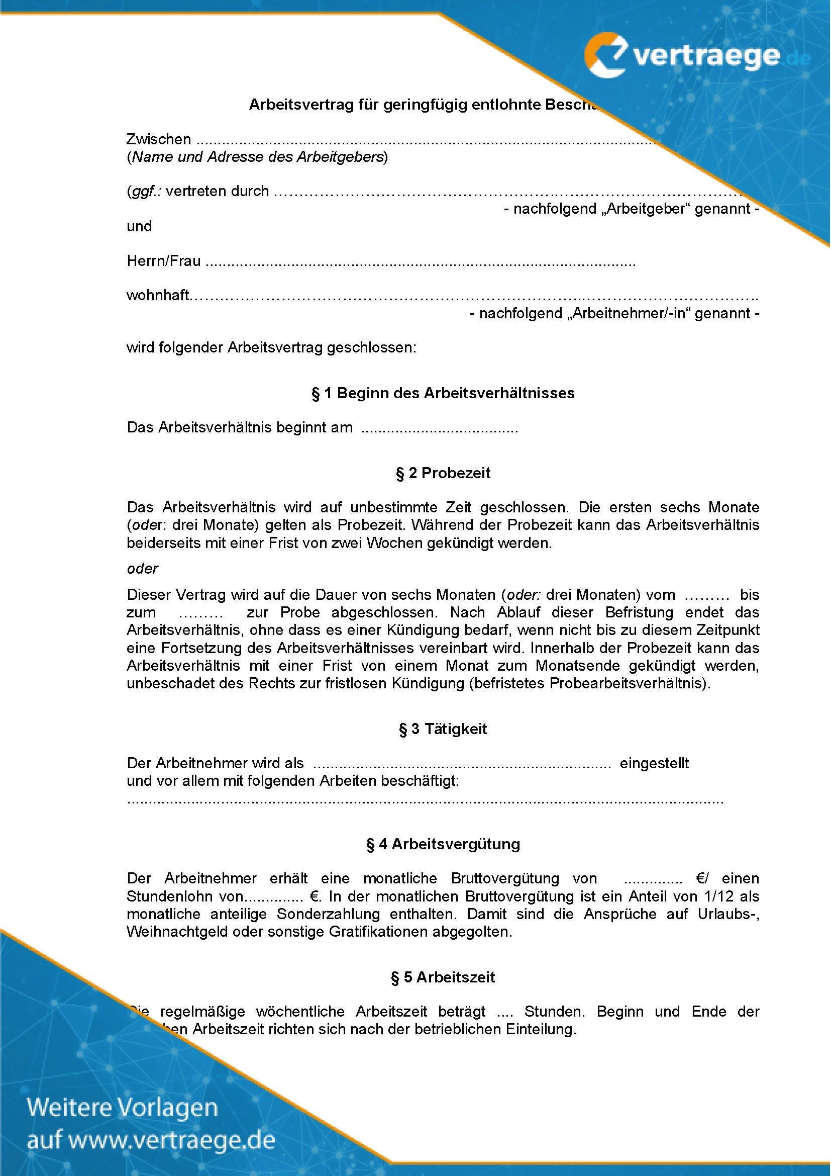 Muster-Arbeitsvertrag für geringfügige Beschäftigungen