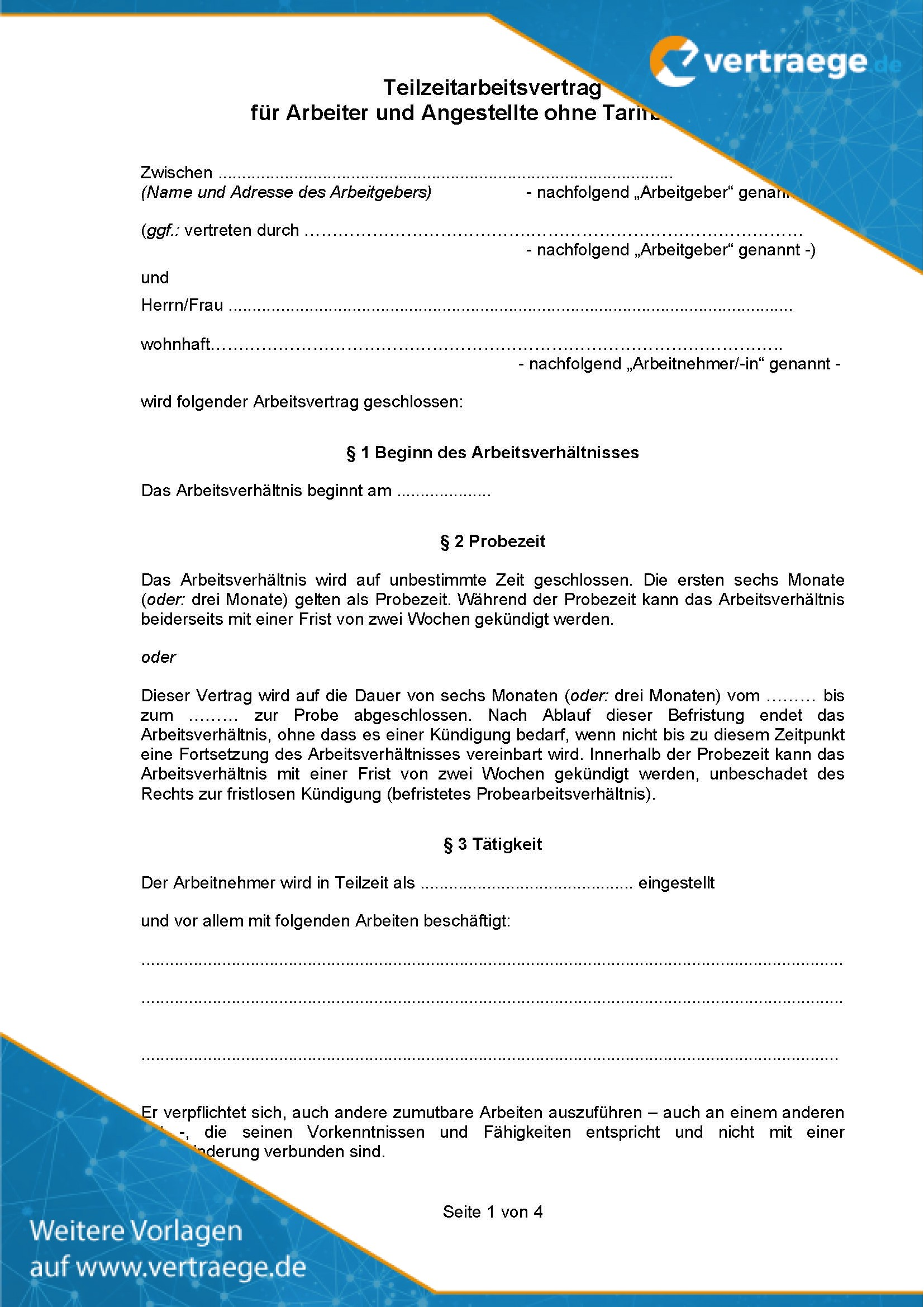 Muster Arbeitsvertrag Teilzeit