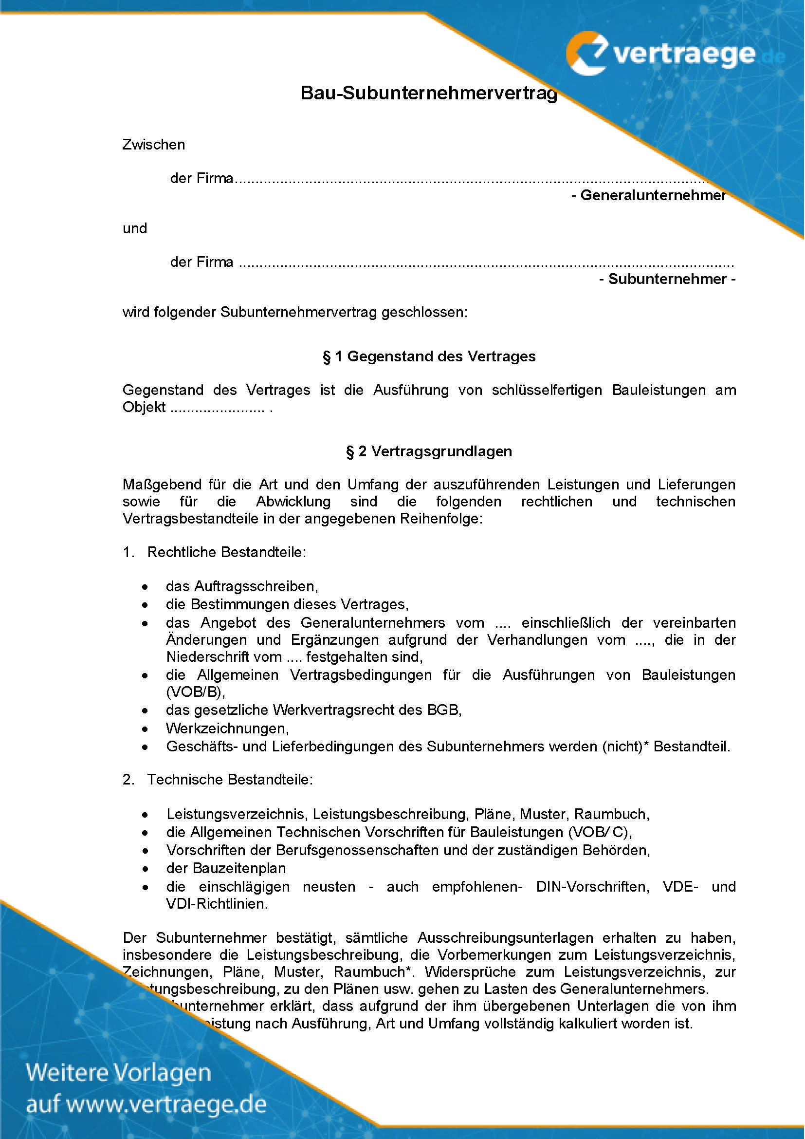 Muster Subunternehmervertrag (Bau)