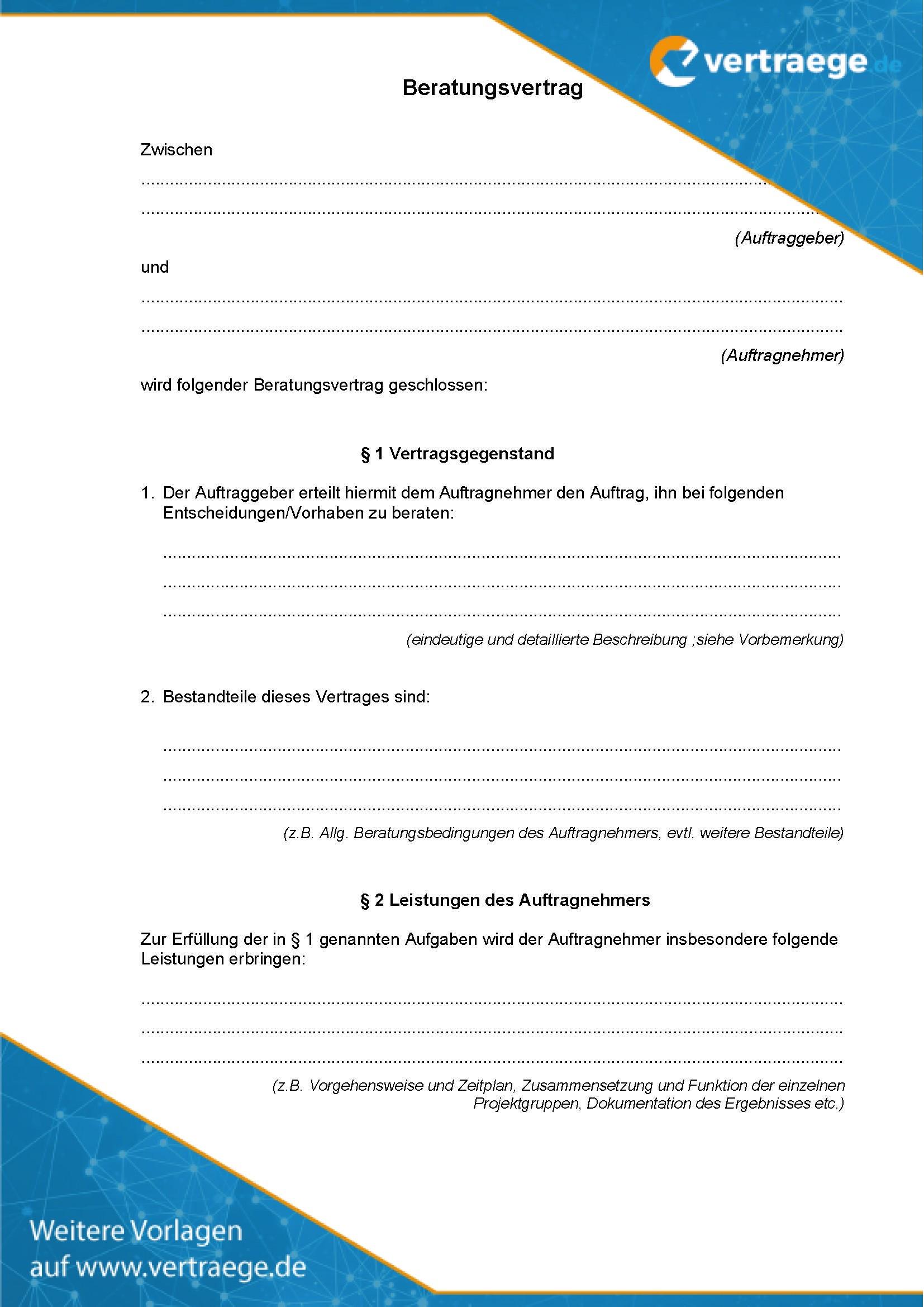 Muster Beratungsvertrag