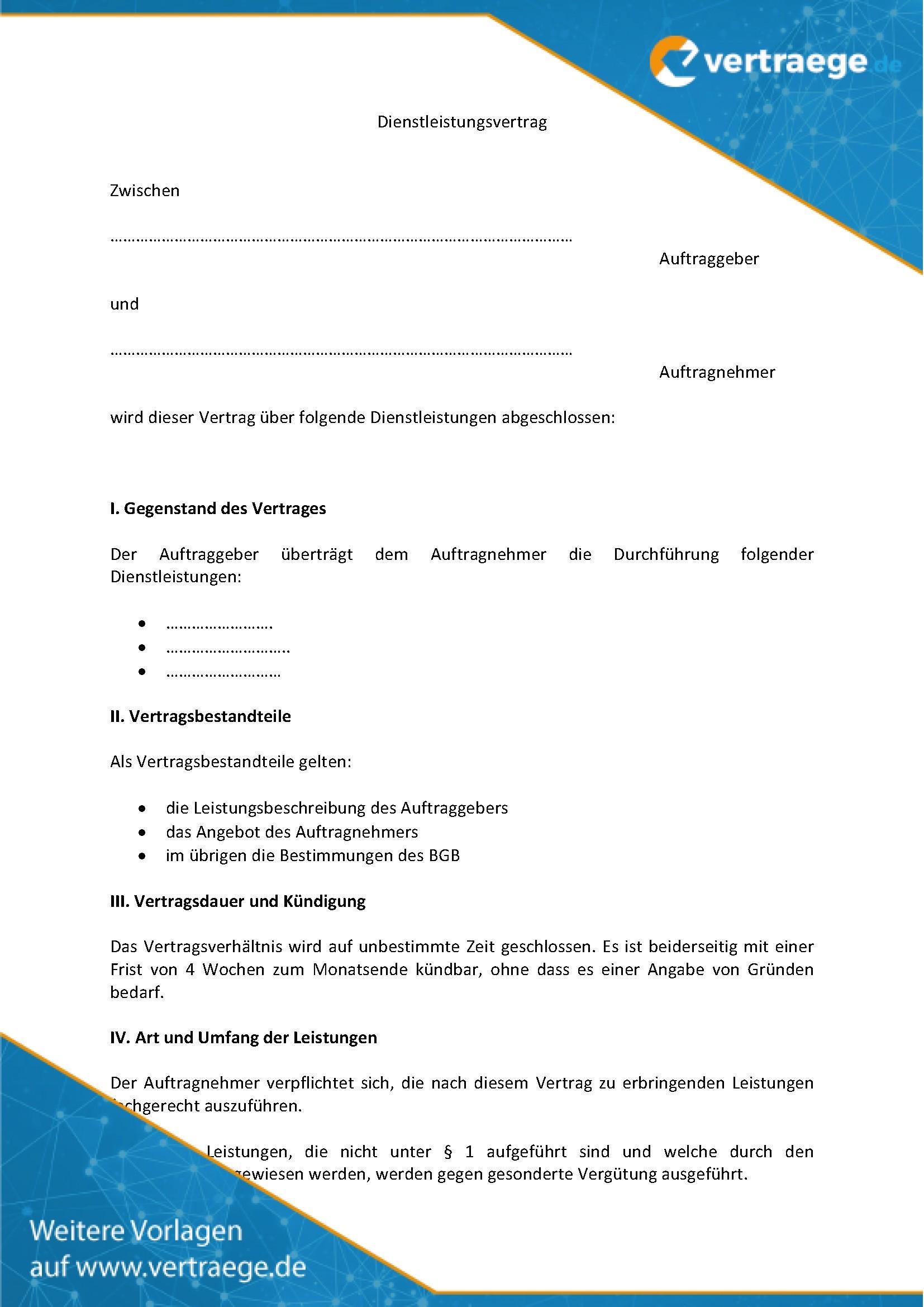 Muster Dienstleistungsvertrag