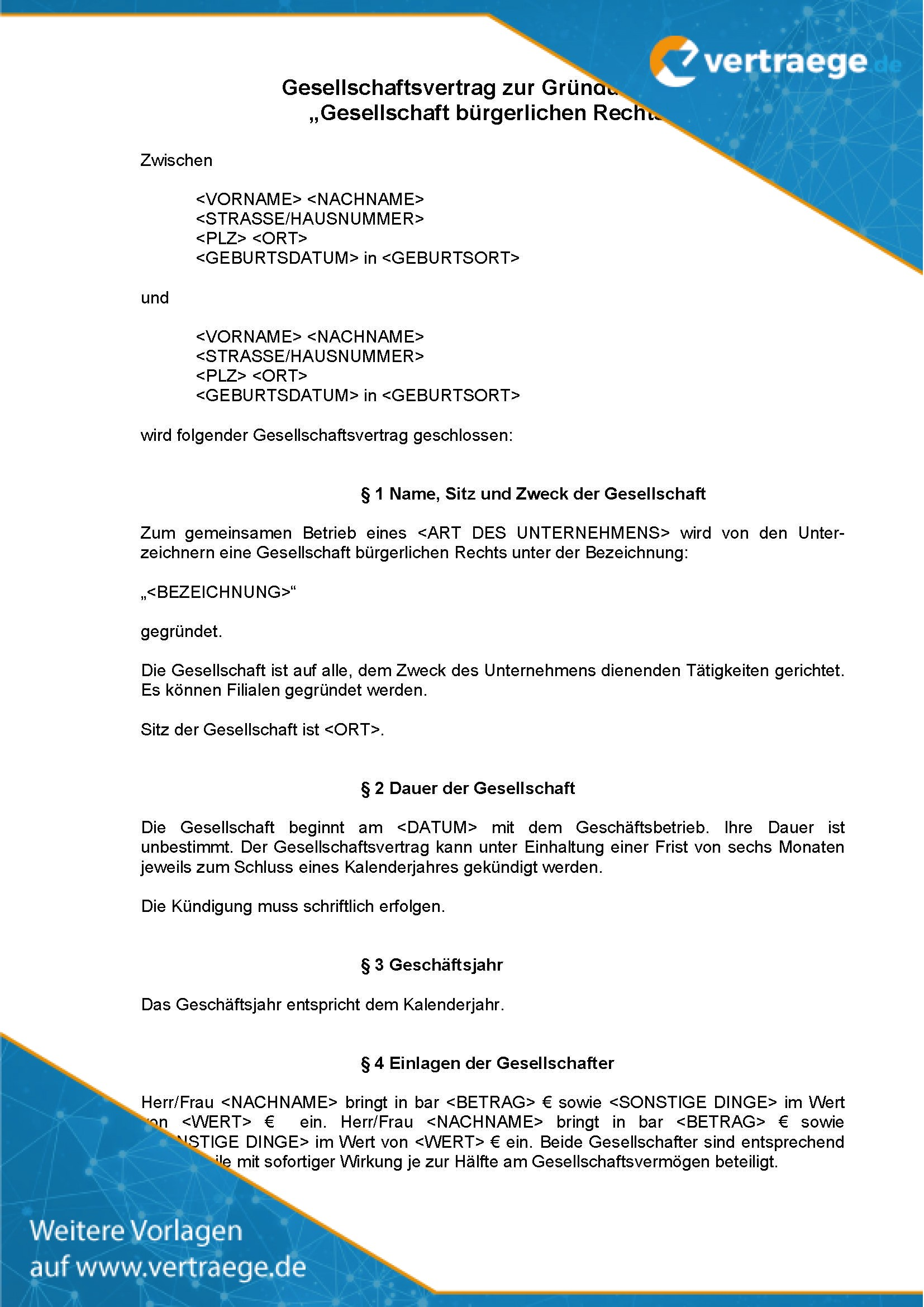 Mustervertrag Gbr Vertrag Pdf Free Download 1