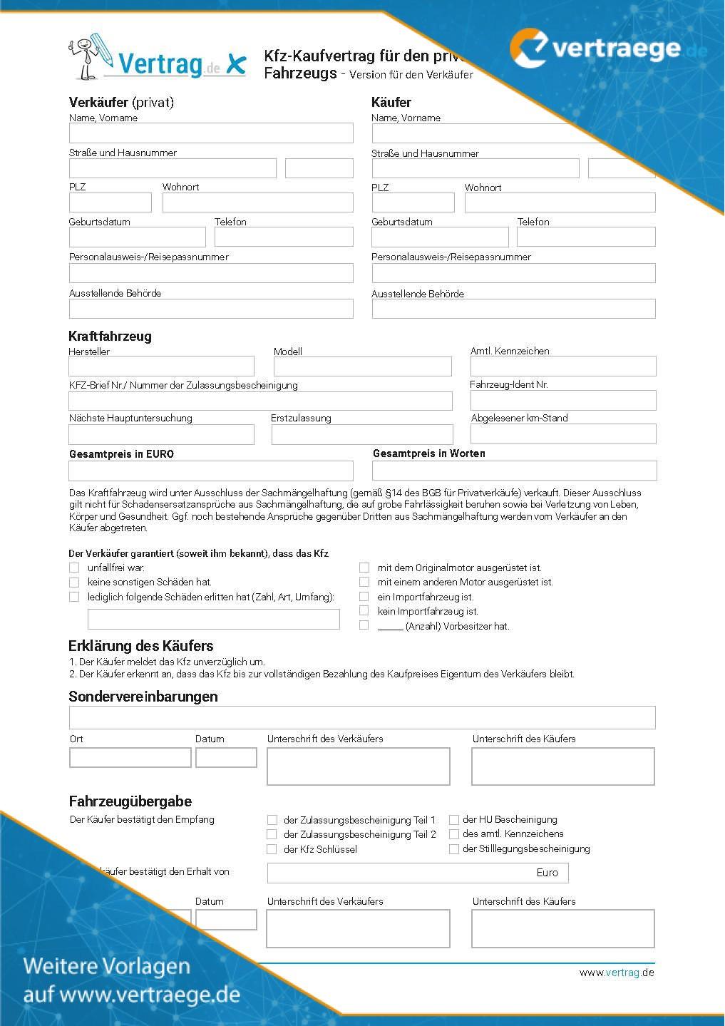 Muster KFZ Kaufvertrag (Privat)
