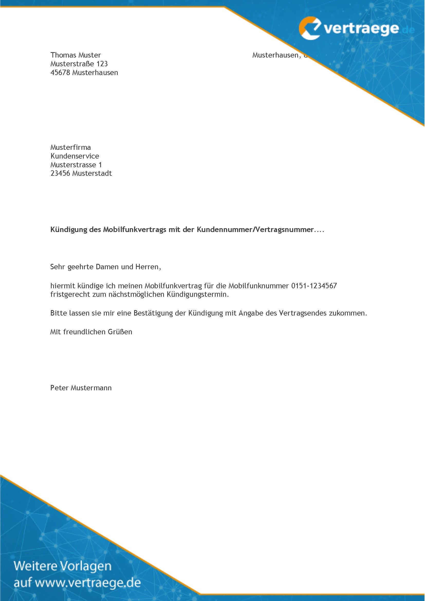 Muster Kündigung Handyvertrag