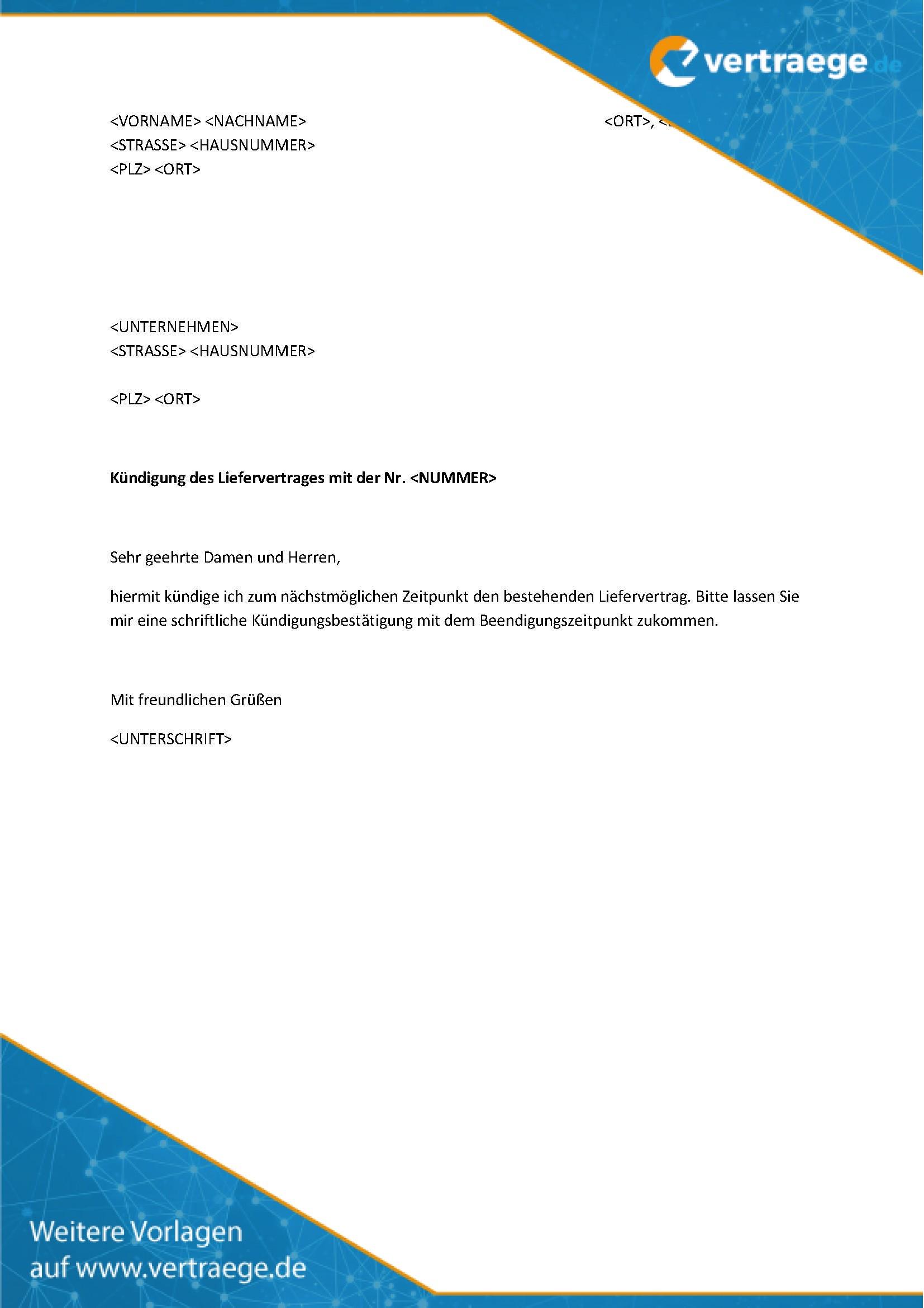 Muster Kündigung Liefervertrag