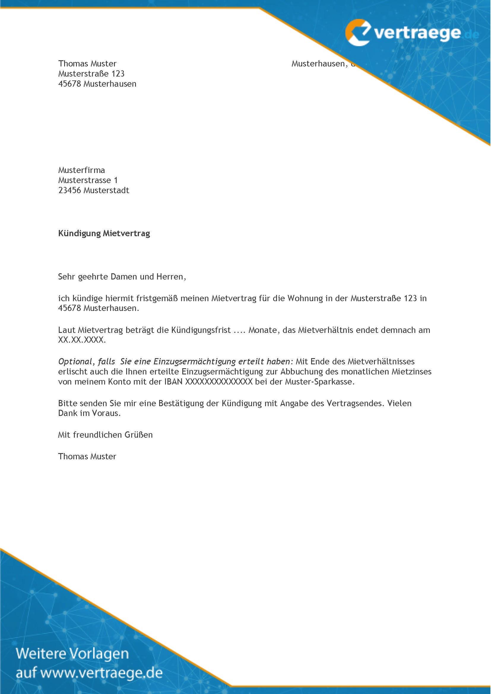 Kundigung Mietvertrag Muster Kundigung Pdf Immoscout24