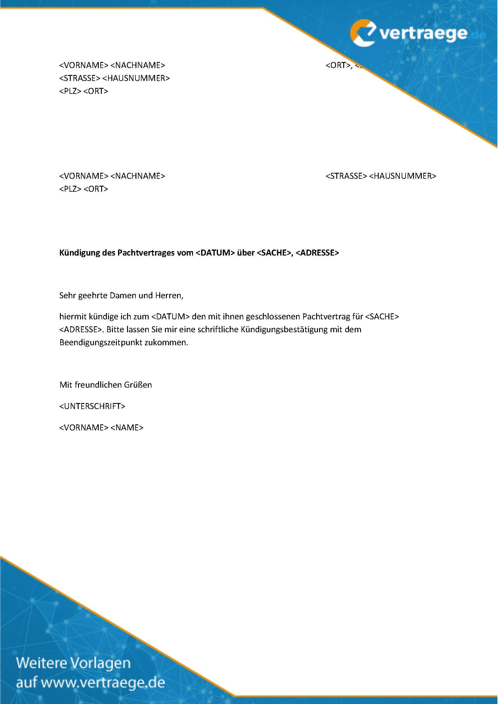Muster Kündigung Pachtvertrag