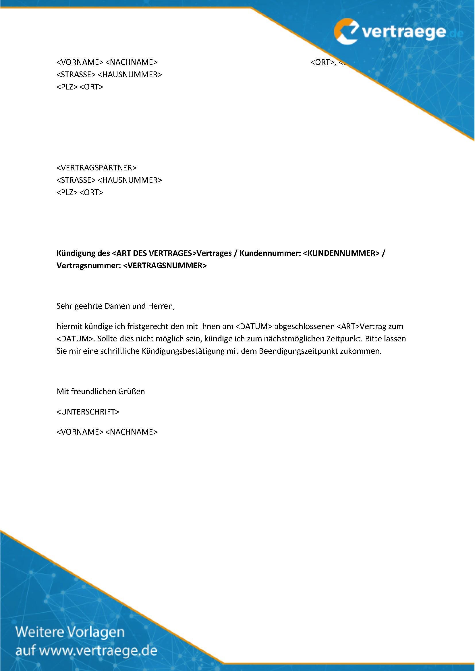 Musterbrief Vertragskündigung