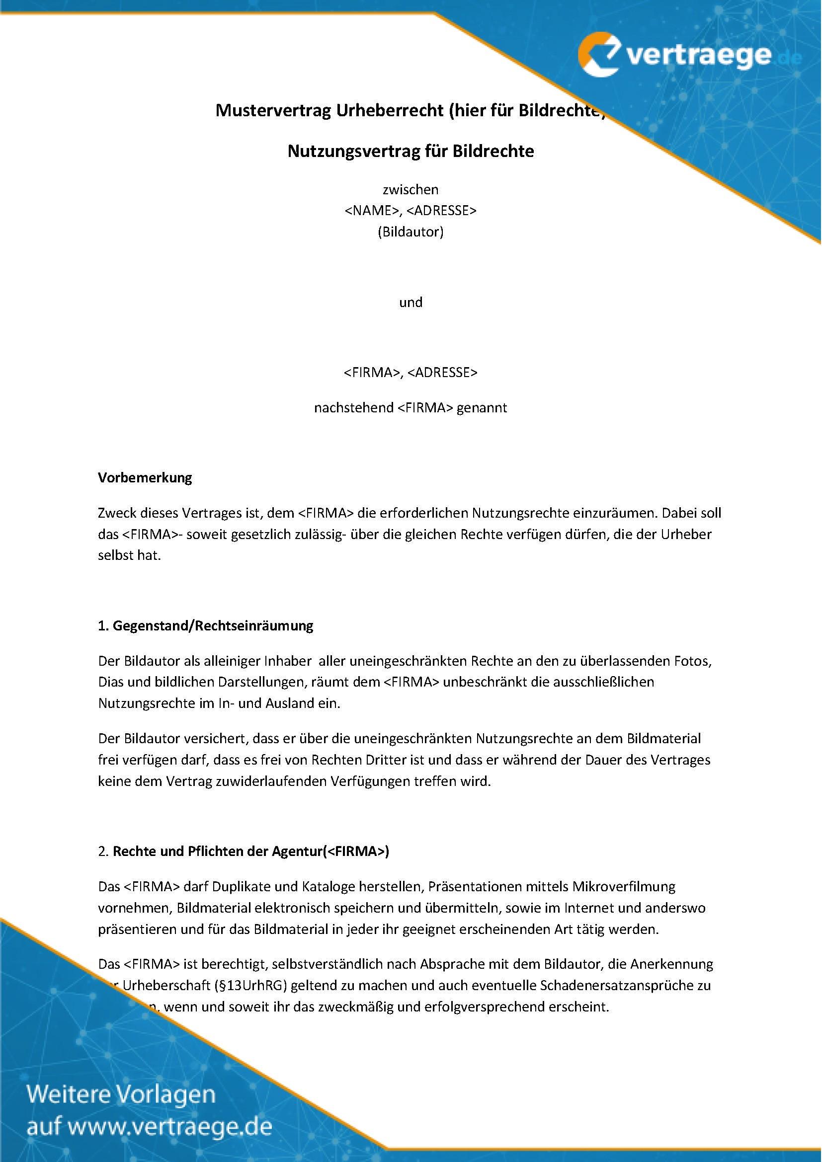 Muster Vertrag Urheberrecht