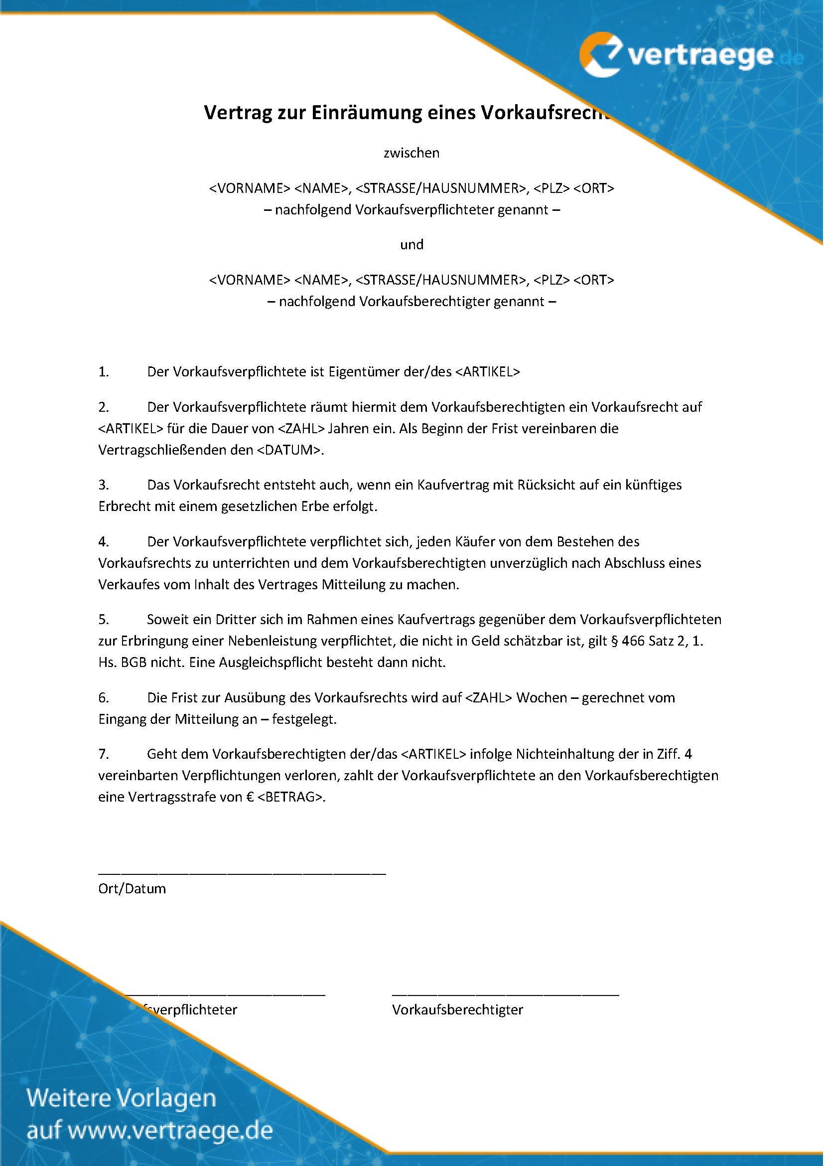 Muster Vertrag Vorkaufsrecht