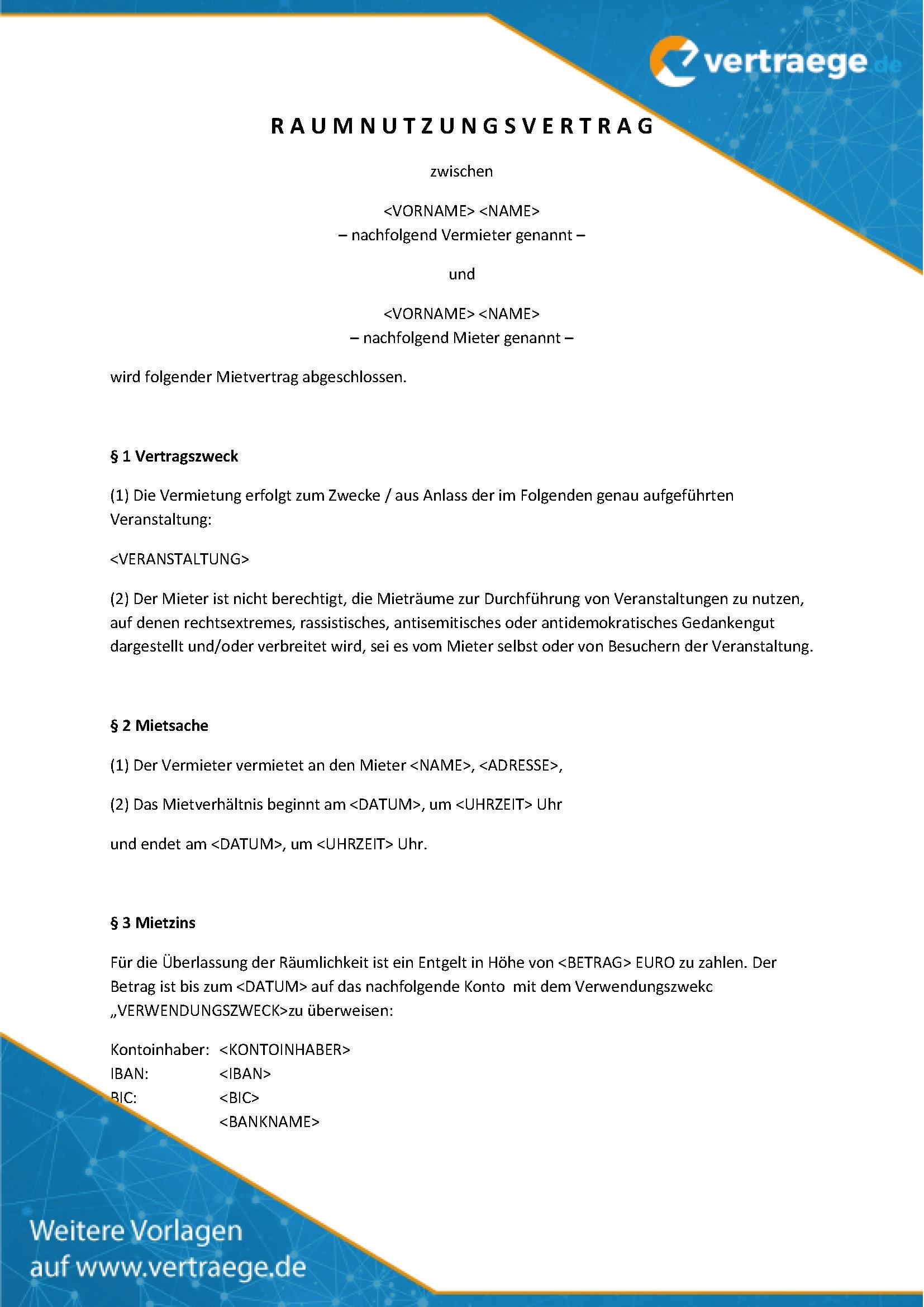 Nutzungsvereinbarung Privat Pkw Vorlage Zum Download