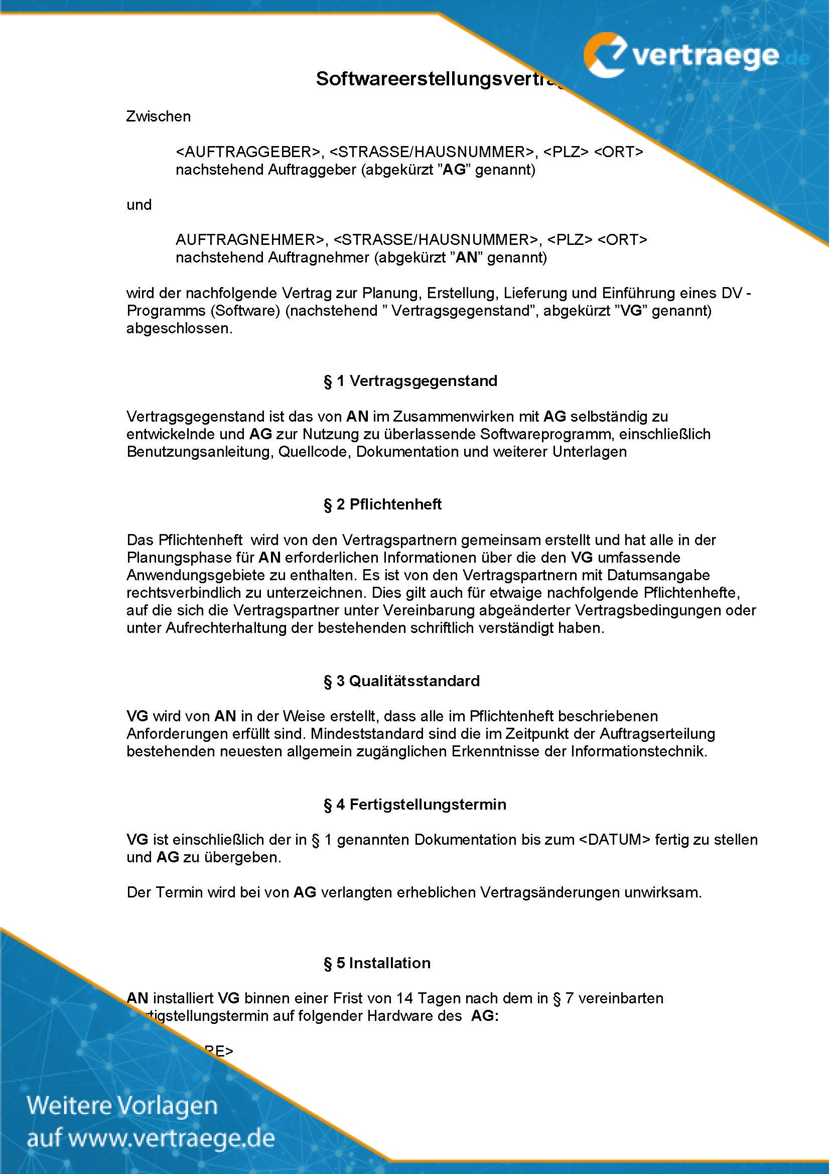 Muster Vertrag Softwareerstellungsvertrag